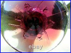 Fenton Plum Opalescent Iridized Lily of the Valley Handkerchief Vase 7.5H