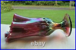 Fenton Plum Opalescent Iridized Lily of the Valley Handkerchief Vase 7.5H VTG