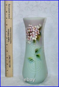Fenton, Vase, Lotus Mist Burmese Glass, Hand Decorated