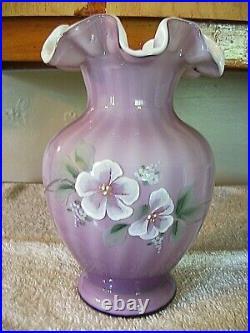 Fenton (h/p) Signed By S. Hopkins Plum Overlay Vase