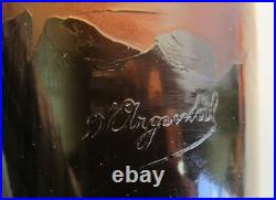 Fine D'ARGENTAL FRENCH Cameo Glass Vase Sailboats at Night c. 1910 antique