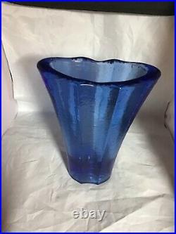 Fire & Light Recycled Glass 9-1/8 Cobalt Blue AURORA Vase Signed GUC