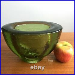 Fire & Light Recycled Glass Olive Green Signed Wide Lip Oblong Vase Bowl Arcata