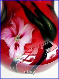 GREAT Signed Charles Lotton 2000 Multi Flora Studio Art Glass Vase