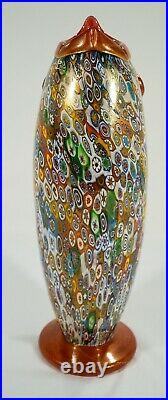 Gambaro & Poggi Murano Signed Millefiori Whimsical Figural Fish Vase or Pitcher
