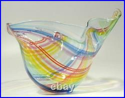 HAND BLOWN GLASS ART BOWL/VASE, DIRWOOD, RAINBOW COLORS, ITALIAN CANE, n2935