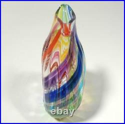 Hand Blown Glass Sculpture/vase, Dirwood, Rainbow Red Blue Aqua Purple Green