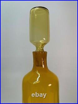 Hand Signed Wayne Husted Yellow Glass Decanter, Blenko Etch Logo. Mid Century