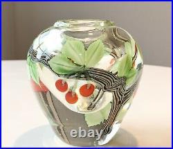 Heavy 1982 Orient & Flume Studio Art Glass Thick Cased Bud Vase Cherry Tree