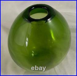 Holmegaard 1950s Signed Art Glass Majgrøn May Green Drop Vase MCM Danish