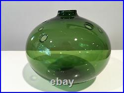 Holmegaard Denmark Green Glass Bubble Vase by Michael Bang Signed