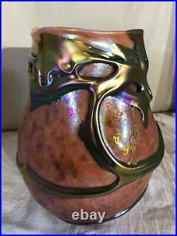 Huge Charles Lotton Lava Art Glass Vase-1989-Signed