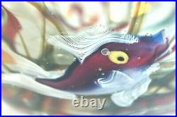 Huge Unusual SIGNED CENEDESE Vintage Murano Glass 3 Fish Aquarium Punch Bowl