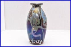 IRIDESCENT aurene 7.75 STUDIO ART GLASS VASE Pulled Feather Art Nouveau Hearts