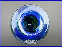Isle of Wight Studio Glass large Seaward vase signed by Michael Harris 1973 blue