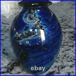 JOSH SIMPSON STUDIO Blue New Mexico Art Glass Blue Vase 6 in Signed Dated 1986