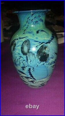 Josh Simpson Turqoise and blue art glass vase-signed 1992
