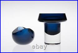KAJ FRANCK ART GLASS VASE + BOWL BLUE 2 SIGNED K. FRANCK for Nuutajärvi FINLAND