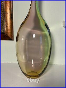 KOSTA BODA Large 18 Tall FIDJI Multicolor Glass Bottle Vase Signed Kjell Engman