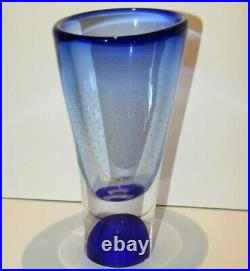 Kosta Boda Goran Warff Blue Vase Signed & Numbered Art Glass Crystal Zoom