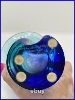 Kosta Boda Goran Warff Vase Blue, Green, Purple, signed