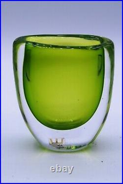 Kosta Vicke Lindstrand. Overlay Vase With Uraniumgreen. Signed And Labeled