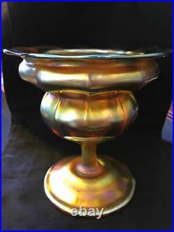 L. C. Tiffany Favrile Vase Iridescent Art Glass Antique Rare Authentic Height 6