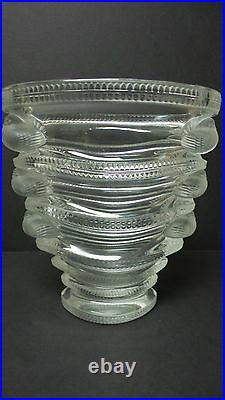 LALIQUE Clear & Frosted Crystal SAINT MARC 6.5 Art Glass Vase