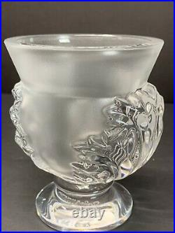 LALIQUE FRANCE ST. CLOUD HEAVY CRYSTAL FROSTED VASE With ACANTHOS LEAVES SIGNED