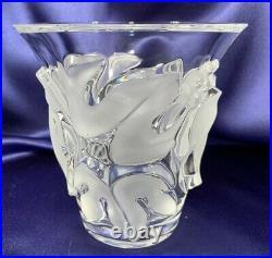 LALIQUE France Signed Art Glass crystal grapes vine SAUMUR vaseRARE