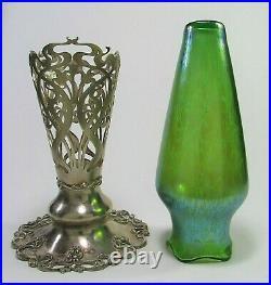 LOETZ Papillon Glass Vase with Sterling Silver Meriden Britannia Co Stand c. 1900's