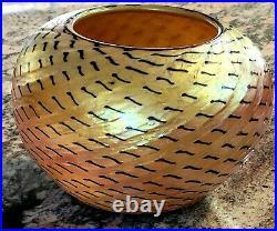 LUNDBERG Gold Aurene Snake Skin Art Glass Bowl Vase Signed 1995 dated #041801