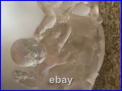 Lalique Art Glass LUXEMBOURG Cherubs Frosted French Crystal Bowl Vase, 8 1/2