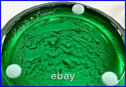 Lalique Biches Vase Emerald Green Crystal Excellent Condition Signed & Authentic