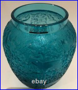 Lalique Biches Vase in Turquoise Crystal Excellent Condition Signed with Box