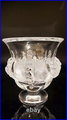 Lalique Crystal Dampierre With Frosted Birds & Alternating Vines Vase Bowl