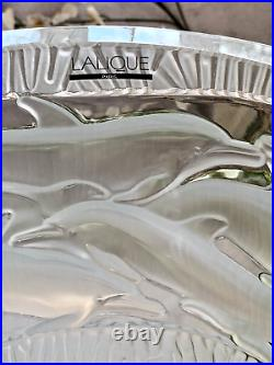 Lalique French Crystal Oceania Dolphins Vase Large 14 24lb Mint Signed Gorgeous