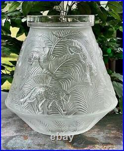 Lalique Jungle Vase 10 Tall 10 Pounds Retail $2500 Mint Condition Signed