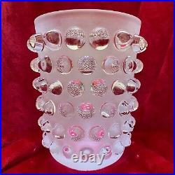 Lalique Mossi clear & frosted glass vase with original label and box, stunning
