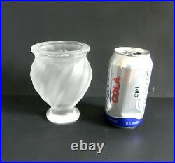 Lalique signed bird vase with two flying birds on front