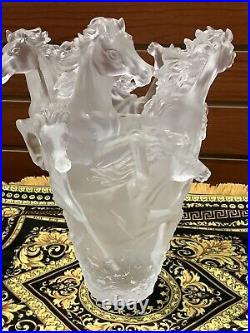 Large 16/16/25cm Pate De Verre Clear Horse Vase Nancy Daum Style Heavy Signed