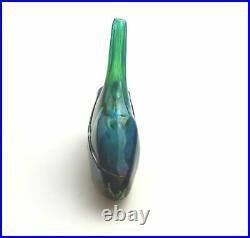 Large vintage Maltese Mdina Art Glass Fish Axe Head Vase M Harris design C. 1980