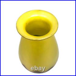 Loetz Iridescent Yellow Blue Glass Vase