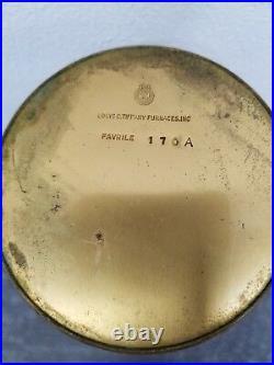 Louis Comfort TIFFANY Furnaces Favrile Glass Ribbed Vase Bronze Signed Antique
