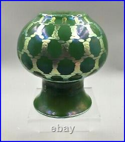 Lundberg Studio Green Iridescent Art Glass Vase Signed Dated