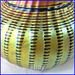 Lundberg Studios 1999 Sign Gold Iridescent Aurene Art Glass Vase 5 1/8h Contemp