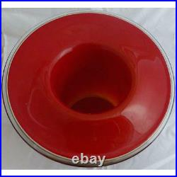Mid Century Modern Signed Barbini Murano Glass Vase in Red and Grey