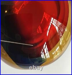 Mid Century Signed Signoretto Murano Vase, Red, Blue, & Amber Otello