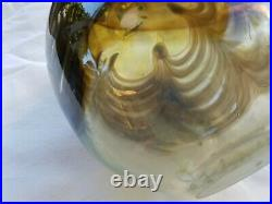 Mid Century Studio Art Glass Iridescent Pulled Feather Vase, Signed