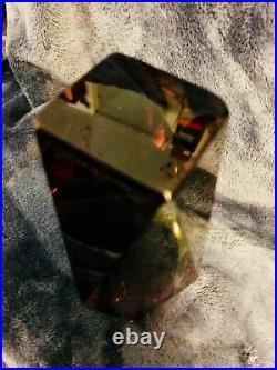 Murano Art Glass Faceted Prism Vase Sommerso Mandruzzato 6.5 Signed